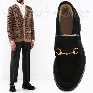 NEW GUCCI Horsebit Suede Shearling Bee Loafer Boot